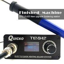 2018 Quicko T12-942 мини OLED паяльная станция с ручкой 9501 с адаптером ЕС 24V3A припоя T12 жало Портативный сварки инструмент
