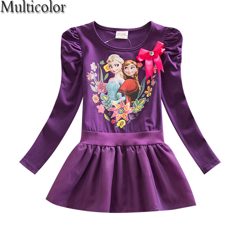 Girls Kids Dress Summer Purple Girls Clothes Elsa Anna Princess Dress Party Wedding Custom Cosplay Girls Dresses Vestido For XMA цена 2017