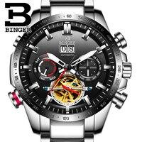 Genuine Luxury Switzerland BINGER Brand Men automatic mechanical Luminous waterproof sports full steel belt male fashion watch