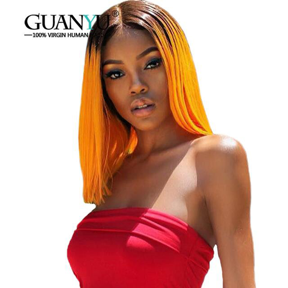 Pre-plucked #1B/Orange Ombre Short Brazilian Bob Remy Human Hair 13*4 Lace Front Wigs 613 Blonde Straight 130 Density Free Part
