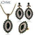 Joyme Fashion Costume Vintage Tribal Ethnic Pendant Necklace Turkish Green Jewelry Sets For Women Wedding Accessories