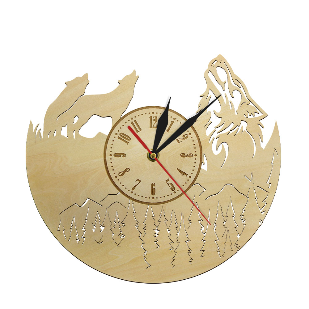 Wolf Wood Wall Clock Howling Wolf Watch Eco Friendly Natural Wall Decorative Modern Design Wolf Admirers Gift For Wolf Lovers