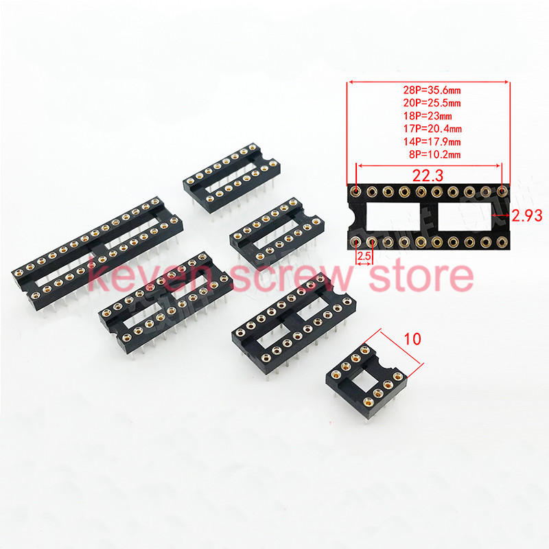 20pcs/lots Round Hole 8P/14P/16P/18P DIP IC Socket Adaptor Solder Type IC Connector Type Socket Kit electric circuit 2.5 Pitch
