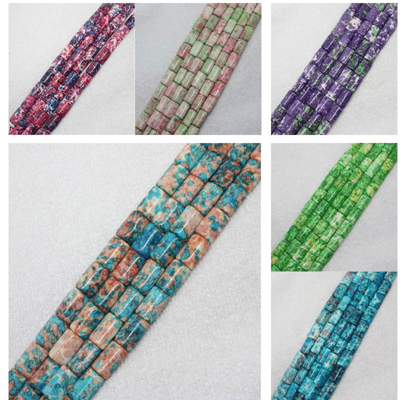 """Mini. Order Is $7! 10x15mm Multicolor Snow Jades Stones Flat Tube Pillow Diy Jewelry Making Loose Beads 15"""" Bright Luster"""