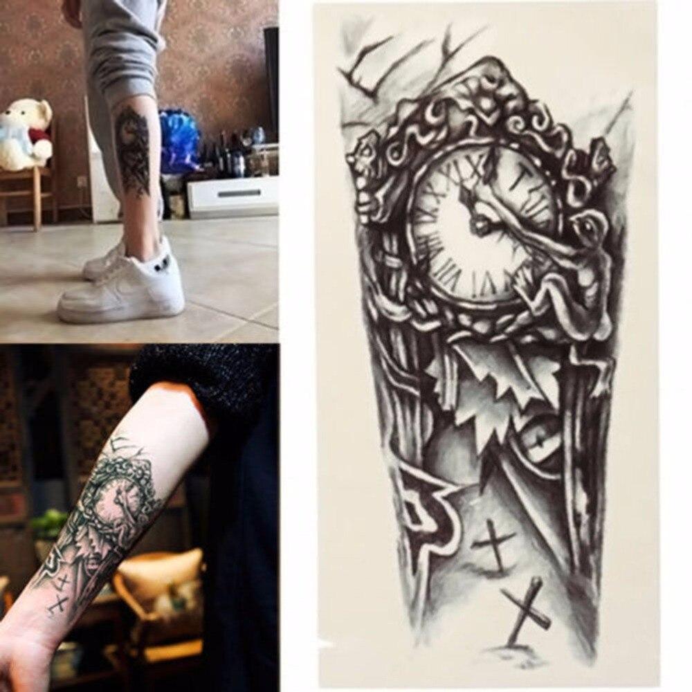 Черный 3D пикантные поддельные передачи татуировки грудь часы татуировки для Для мужчин временные большая механическая рука татуировки Стикеры Для женщин