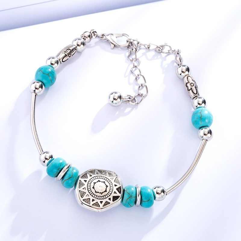 Bohopan estilo étnico pulseras de Color plateado brazaletes pulseras de piedra Natural verde para mujer cadena ajustable accesorios de joyería