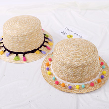 Round Top Wide Brim Straw Hats Summer Sun for Women With Leisure Beach Flat Multicolour Wool Ball Caps 2019 New