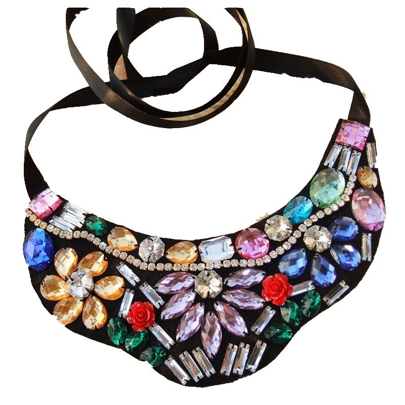 CirGen Fashion Cloth Neck Chokers Handmade Ribbon Acrylic Crystal Flower choker collar Bib necklace women jewelry Item,AF8016