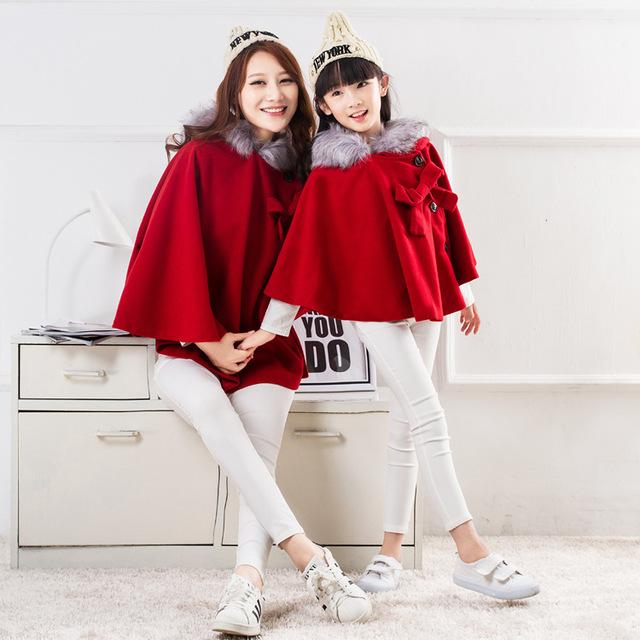 2016 primavera outono manto casaco de Lã vermelho arco Roupas De Natal da família de mãe e filha combinando roupas de bebê roupas de menina