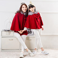 2016 spring autumn cloak mother and daughter coat red Woolen bow Christmas Outfits family matching clothes baby girl clothing