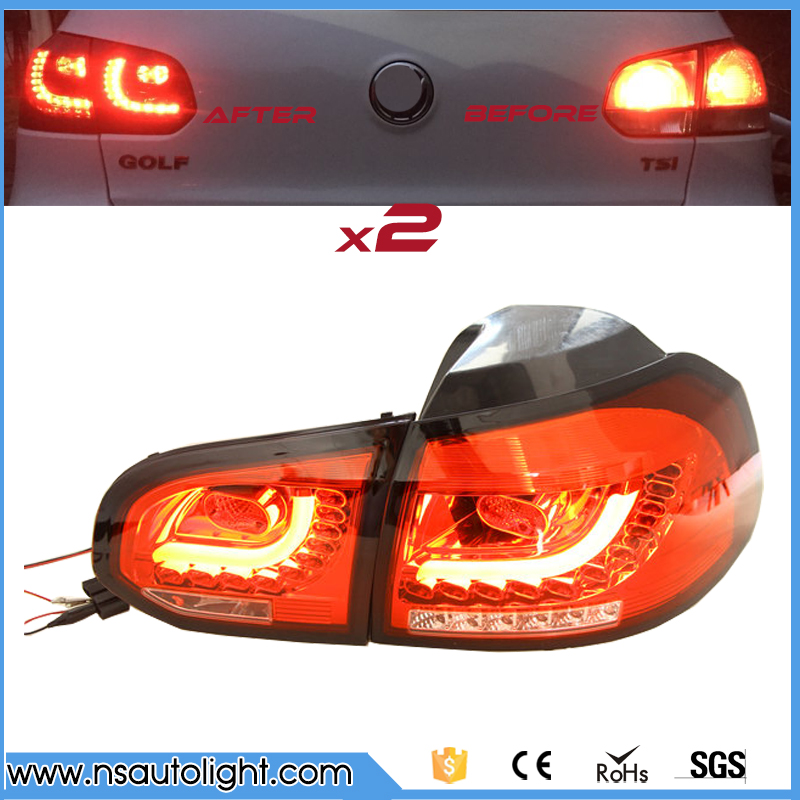 Car parts Tail Lamp For VW Golf 6 2008 2009 2010 2011 2012 2013 LED Tail Light Rear Lamp plug and play design car rear trunk security shield cargo cover for jeep compass 2007 2008 2009 2010 2011 high qualit auto accessories