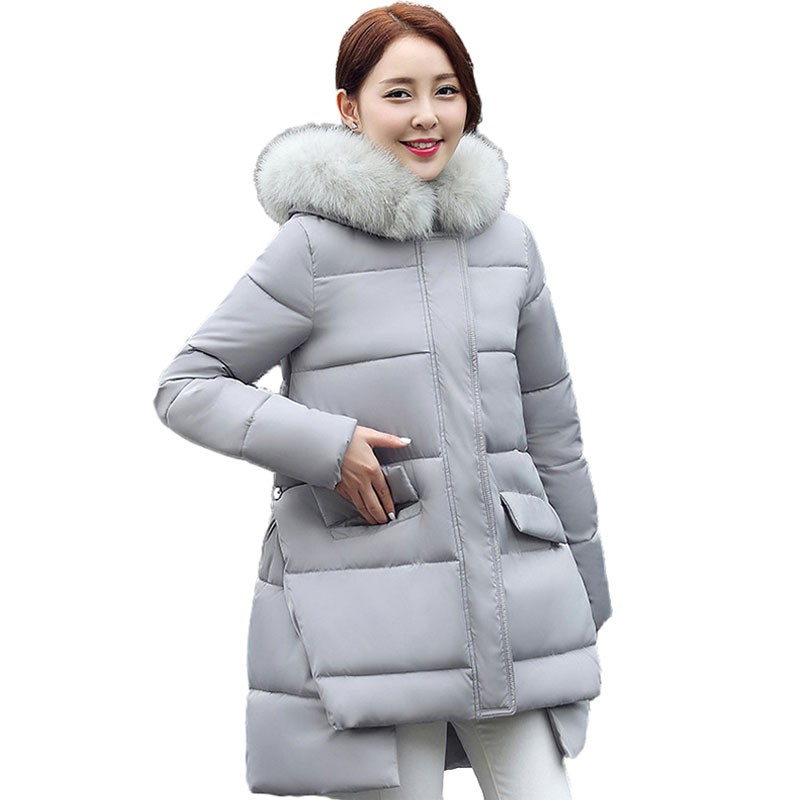 ФОТО 2016 Winter Jacket Women Cotton Padded Parkas With Luxury Large Fur Collar Long Paragraph Cape Coat  Thick Hooded Outwear wt183