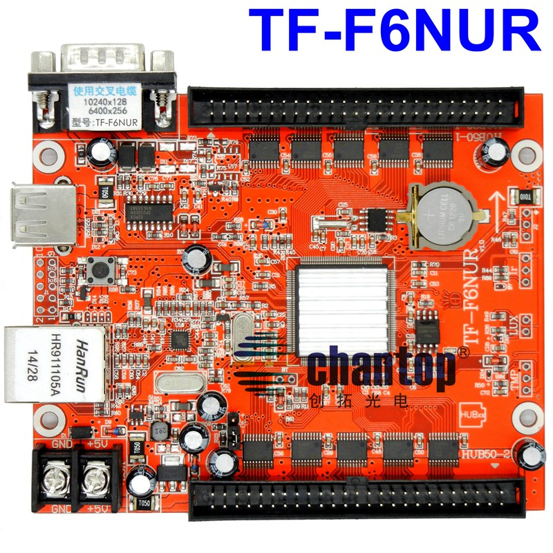 TF-F6NUR Lan port  LED screen control card ethernet+USB+RS232 port 10240*128,6400*256pixels support led controller comfast full gigabit core gateway ac gateway controller mt7621 wifi project manager with 4 1000mbps wan lan port 880mhz cf ac200