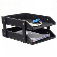 Double Layer PU Leather File Document Tray Shelf Storage Box Desk Organizer Home Office Supplies wen5448