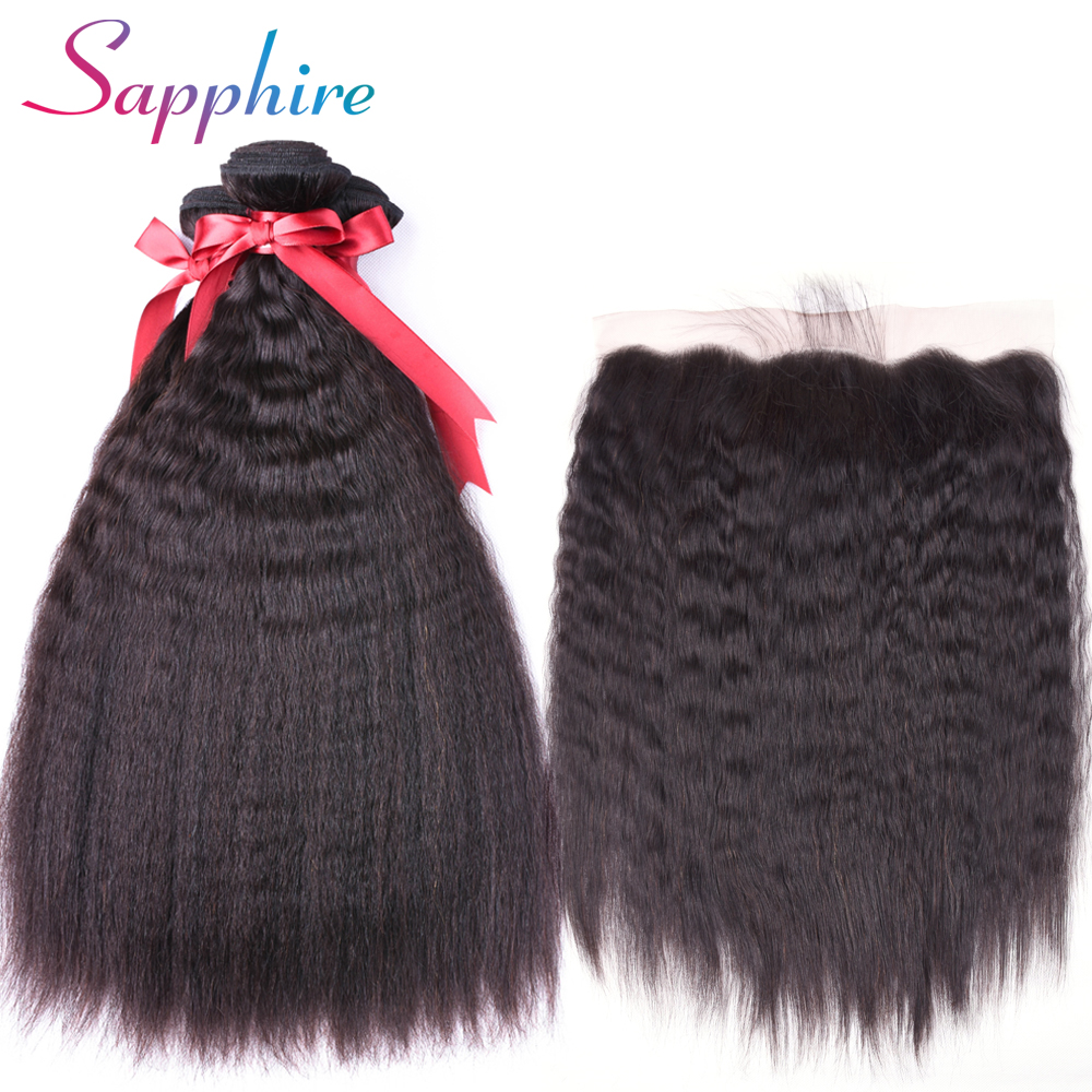 Sapphire Kinky Straight Peruvian Human Hair Weave Bundles with Lace Closure Non Remy Hair Extension Bundles