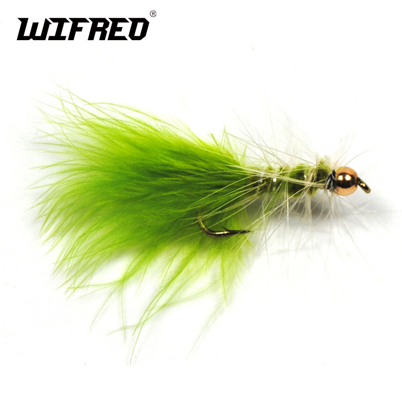 Wifreo 8PCS #10 Brass Gold Bead Head Chartreuse Green Streamer Fly For Trout Fly Fishing Flies