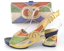 Italian shoes and bags to match,nigeria slippers and purse with stone for party!gold color ! ! !MLQ1-17