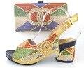 Sapatos italianos e bolsas para combinar, nigéria chinelos e bolsa com pedra para o partido! cor de ouro!!! MLQ1-17