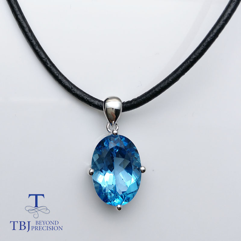 TBJ,Simple design pendant Natural deep blue topaz gemstone for men and women unisex pendant leather chord necklace with box