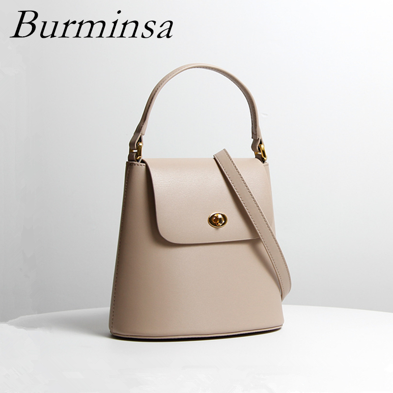 Burminsa Elegant Bucket Small Genuine Leather Bags Women Irregular Designer Handbags Female Shoulder Messenger Bags Summer 2019Burminsa Elegant Bucket Small Genuine Leather Bags Women Irregular Designer Handbags Female Shoulder Messenger Bags Summer 2019