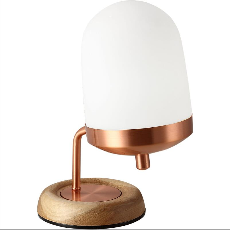 Free Shipping Art Mini Wood Base Copper Table Lamps Light E27 Led Milk Gl Desk Bedside Bedroom Lights Night