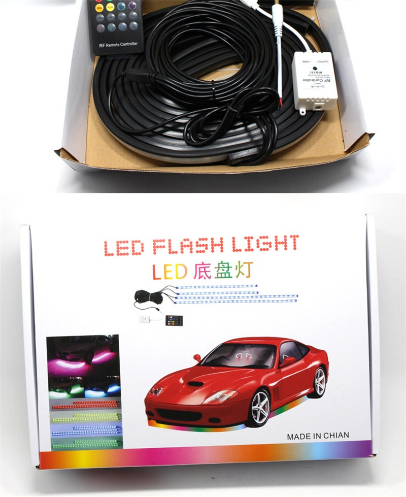 4pcs High Intensity LED Car Underglow Underbody System Led knight rider light RGB Colors Running Strip Light 90cm+120cm17