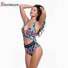 Sexy backless striped hollow out swimwear women Spring summer one-piece suits water sports high waist bikini set beach biquini