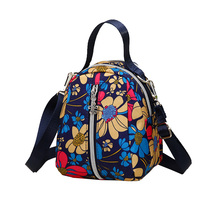 Mini Package Rural Style Floral Messenger Bag for Women Cute Small Cloth Crossbody Body More Zippers Color Little Hand