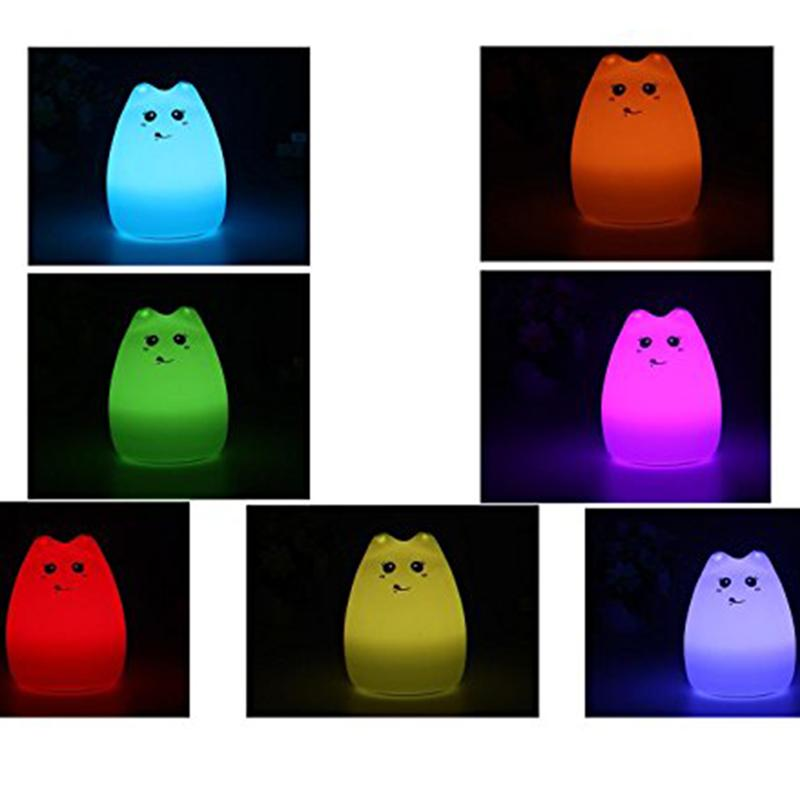 Cute Kitten LED Children Night Light Kids Silicone Cat Lamp 7-Color Flashing USB Rechargeable Lighting with Remote Control