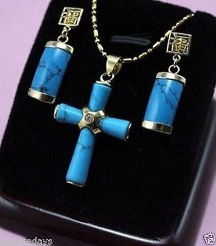 Gorgeous Natural stone cross Pendant Necklace + Earrings^^^^NEW style Fine jewe Noble Natural Natural FREE SHIPPING