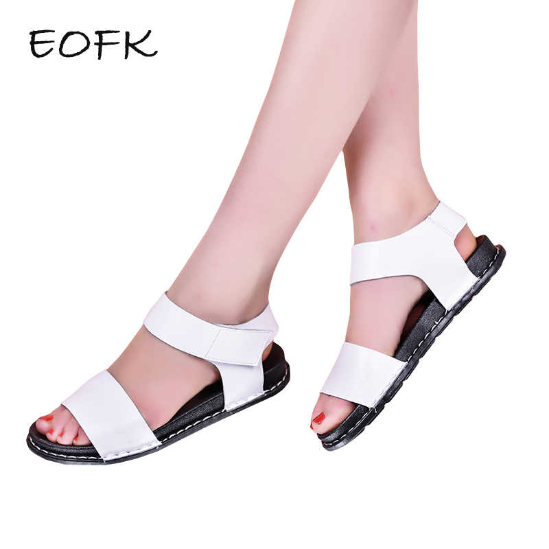 d279769c945d8b EOFK 2019 New Summer Sandals for Women Flat Shoes Woman Hoop   Loop Fashion  Simple White