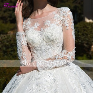 Image 4 - Glamorous Long Sleeve Appliques Chapel Train Ball Gown Wedding Dress 2020 Luxury Beading Scoop Neck Lace Up Princess Bridal Gown