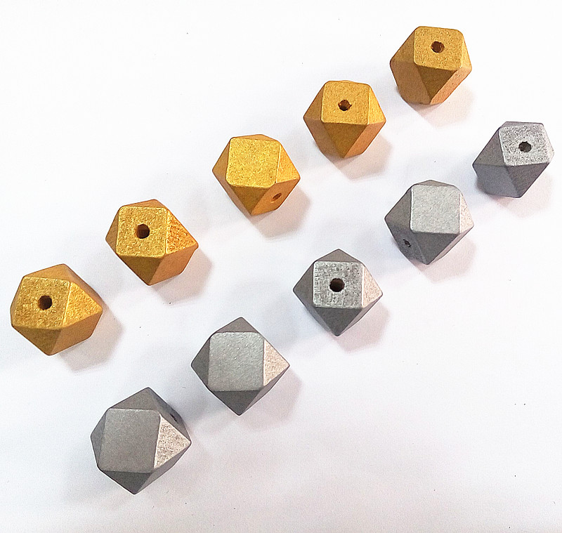 SANSHOOR 20mm Natural Unfinished Wood Gold And Silver Color Geometric Wooden Beads Accessories Jewerly For Diy 100Pcs/lot