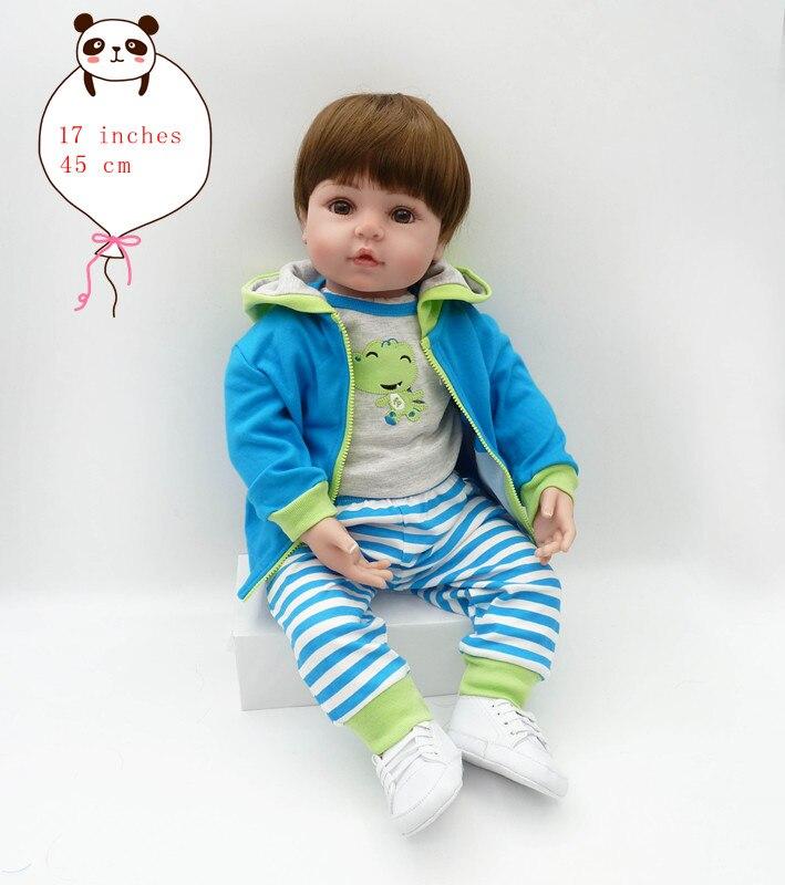 Babies reborn doll 45 cm new handmade silicone reborn baby Lifelike adorable boy Bonecas girl kid