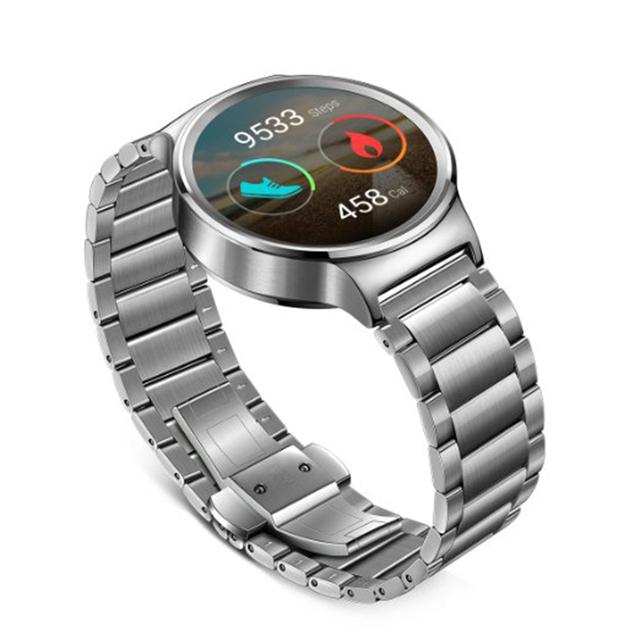 Luxo para huawei watch homens smartwatch butterfly fecho pulseira de aço inoxidável premium