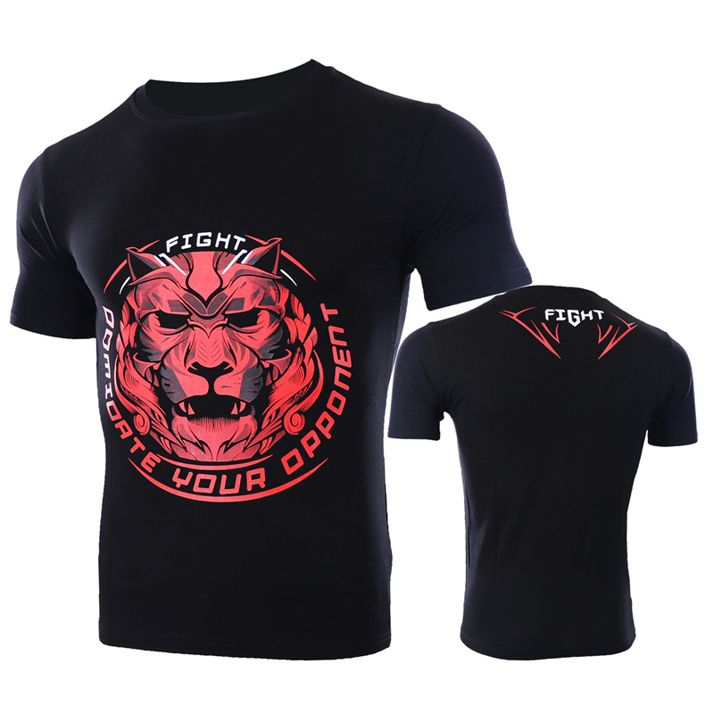VSZAP Sanda Fight T-Shirt Animal Printed Men T Shirts MMA Fitness Workout Tee Shirt UFC Fighting Muay Thai Tops