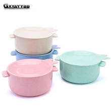 GXYAYYBB 1Pcs Round Wheat Straw Kids noodles Bowls With Lids Hot Rice Soup Food Container Tableware Kitchen Gadgets Accessories dihe wheat straw skid resistance lengthen stewed noodles chopsticks
