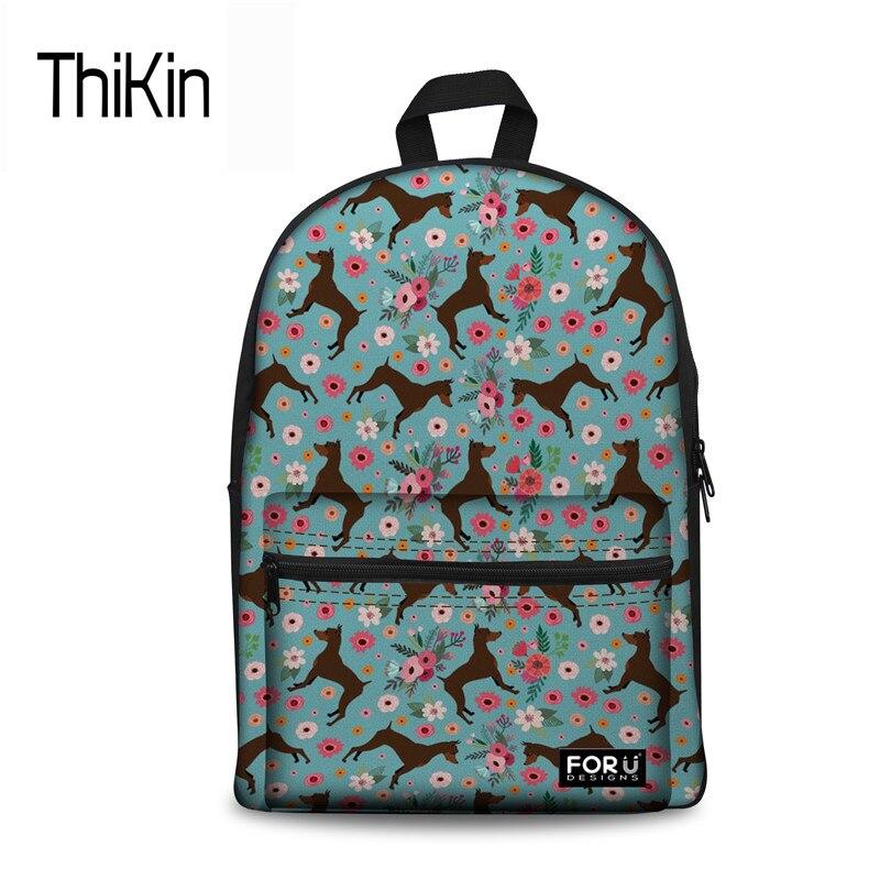 THIKIN Women Canvas School Bag Miniature Pinscher Flower Printing Schoolbag For Kids Girls Large Rucksack Brand Bagpack Bookbag