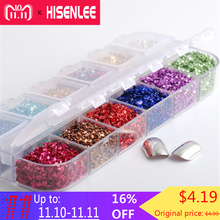 hot deal buy hisenlee 12colors/box 3d nail art crushed glass powder broken nail glitter powder decoration rhinestones for tips nail art set
