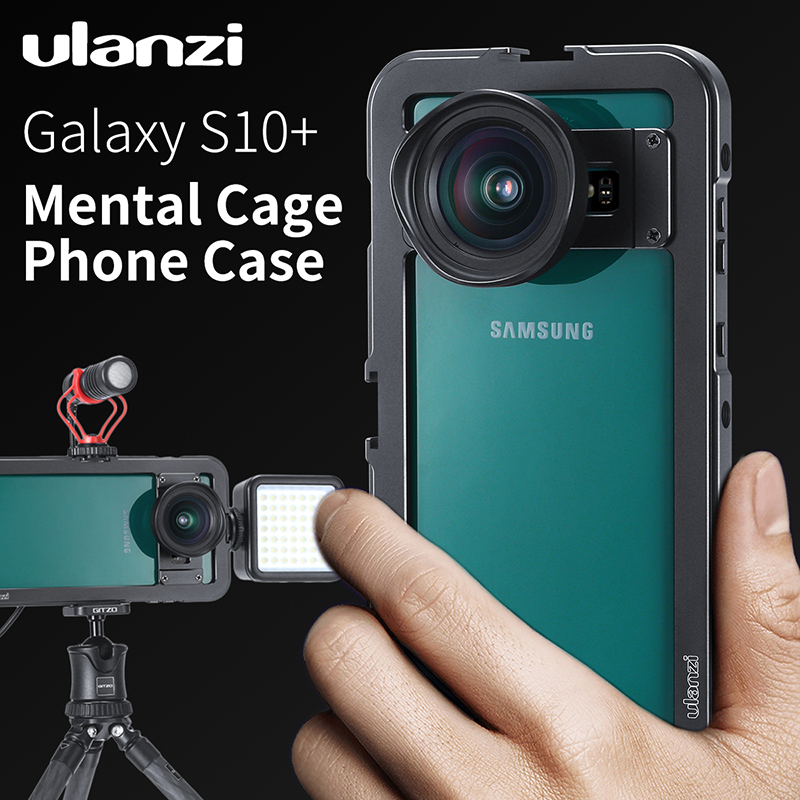 Ulanzi Vertical Shooting Vlog Metal Cage For Samsung S10 Plus Magnetic Case Cage With 1/4 Thread Cold Shoe For Mic LED Light