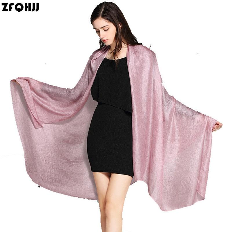 ZFQHJJ Luxury Brand Smooth Pareo Scarf Women 190x80cm Large Linen Silk Sarongs Hijab Scarf Beach Foulard Bikini Cover Up Scarves
