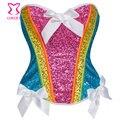 Rainbow Lentejuela Bustier Corsé Atractivo Gótico Overbust Corpete Espartilho E Fajas Mujeres Entrenador Cintura Burlesque Ropa Delirio