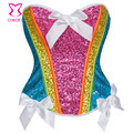 Rainbow Sequin Bustier Corset Sexy Corpete Gothic Overbust Espartilho E Corselets Women Waist Trainer Burlesque Rave Clothing