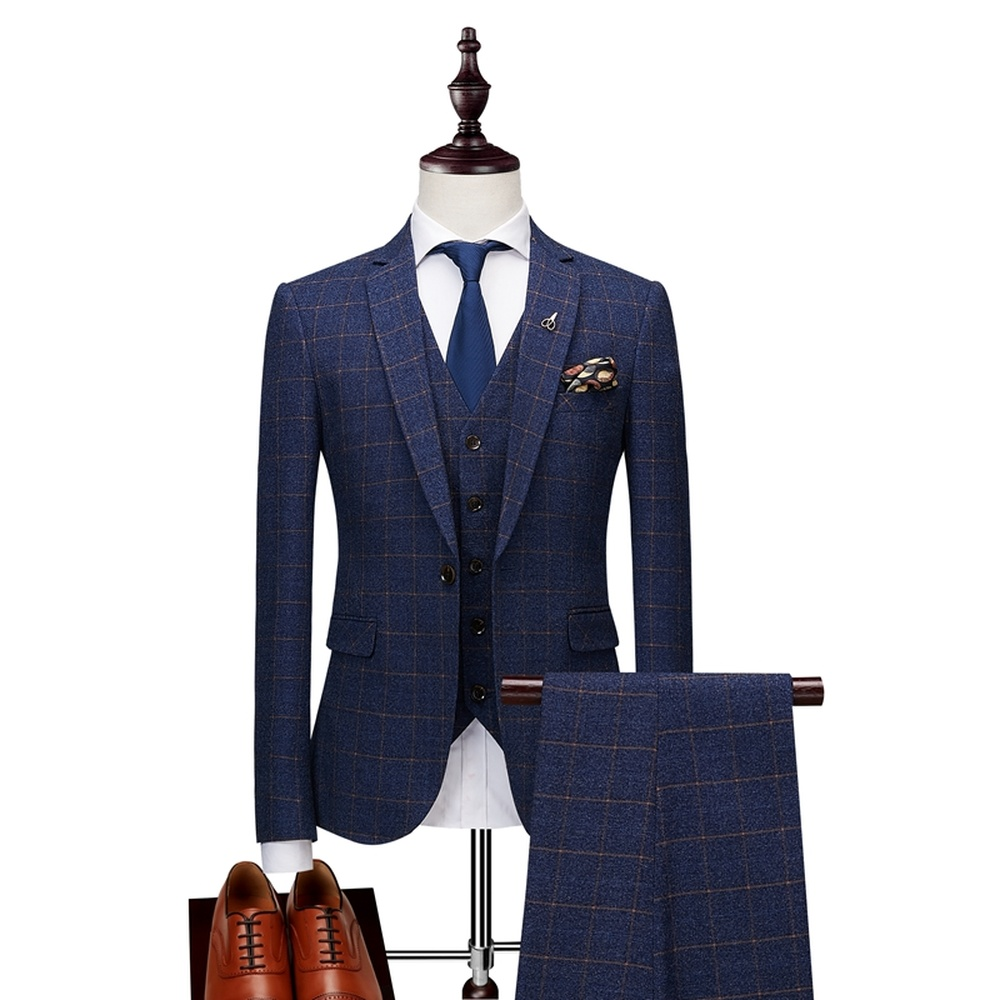 2019 Men's Class Plaid Striped Suits Mens High Quality Tuxedos Business Suits Men Wedding Grooming Ternos Slim Fit Suits