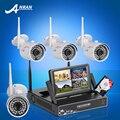 Plug And Play P2P 4CH NVR Sistema de CCTV Sem Fio Tela de 7 Polegadas 720 P HD IP WI-FI Câmera 36IR Segurança Vigilância Ao Ar Livre Kit 1 1TBHDD