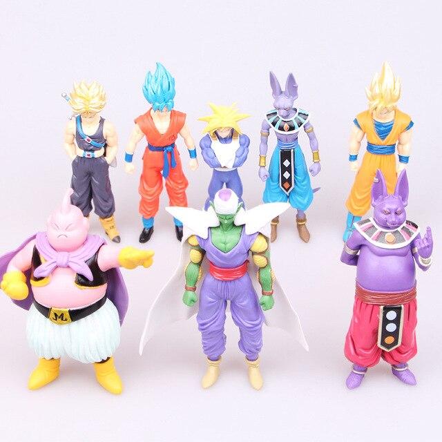 8 pcs Destruição de Vírus Deus Kakarotto Anime Japonês Figuras Vegeta Frieza Vegeta Figuras de Brinquedo Ação Pvc Modelo Dragon Ball