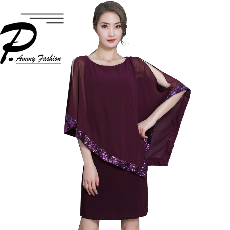 Women Fashion 2018 Summer Sequins Cloak Batwing Sleeve Chiffon Mini Party Dress O Neck Club Pencil Dress Elegant Vestidos S~3XL