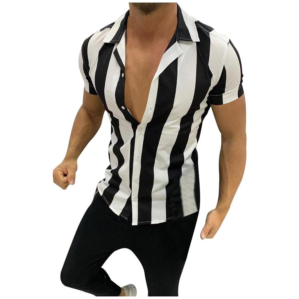 Fashsiualy Shirts Chemise Short-Sleeve Printed Colorful Stripe Big-Size 3xl Splicing