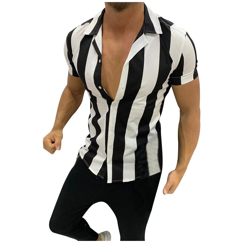 Men's Shirts Casual Slim Fit Plus Size Fashion Splicing Stripe Printed Colorful Short Sleeve Shirts Men Chemise Homme