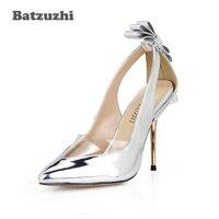 Batzuzhi 2018 New 10 7cm Iron Thin Heels Women Shoes Pointed Toe Silver Women Wedding Shoes